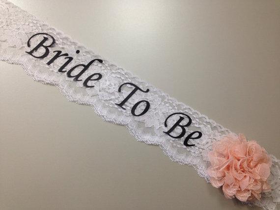 زفاف - Lace Bachelorette Sash - Lace Bridal Shower Sash - Basic Lace ***Design Your Own Sash***