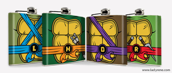 Свадьба - TMNT Teenage Mutant Ninja Turtles Hip Flask Hip Flask 6oz flask Mens Flask Comic Cartoon Groomsmen Gift
