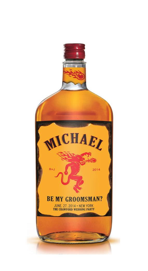 Hochzeit - Set of 6 Groomsman / Bridesmaid & Best Man Fireball Whiskey Style Labels - Be My Groomsman - OR Groomsman Gift - Wedding Party