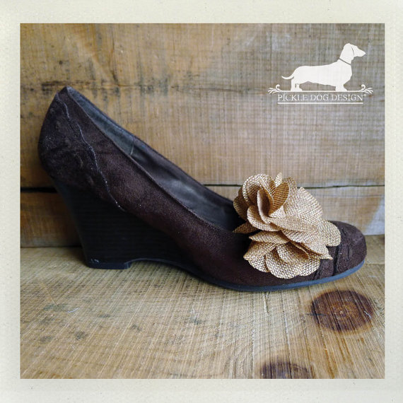 Rustic Chic Wedding Shoes: CLEARANCE! Vintage Tweed. Shoe Clips -- (Flower, Tan