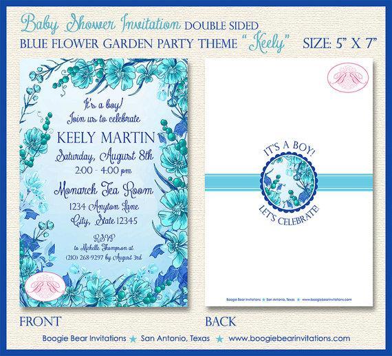 Hochzeit - Blue Flower Garden Baby Shower Invitation Boy Aqua Teal Spring Floral Tea 1st Brown Bear Invitations Keely Theme Paperless Printable Printed