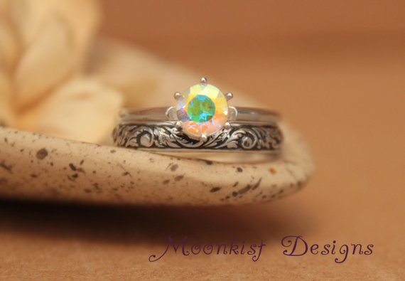 Hochzeit - Vintage-Style Tiffany Solitaire Opalescent Topaz Floral Wedding Band Set in Sterling - Engagement Ring Set with Tendril and Vine Fitted Band