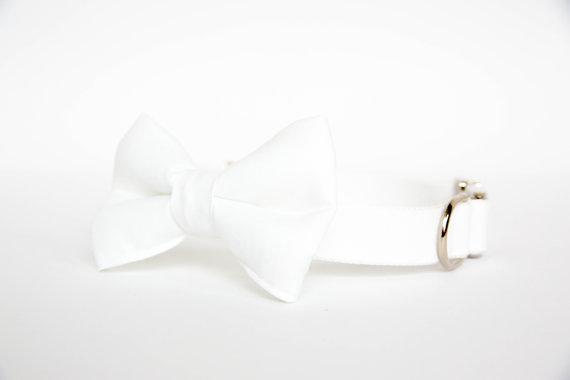Свадьба - Wedding Bow Tie Dog Collar in White