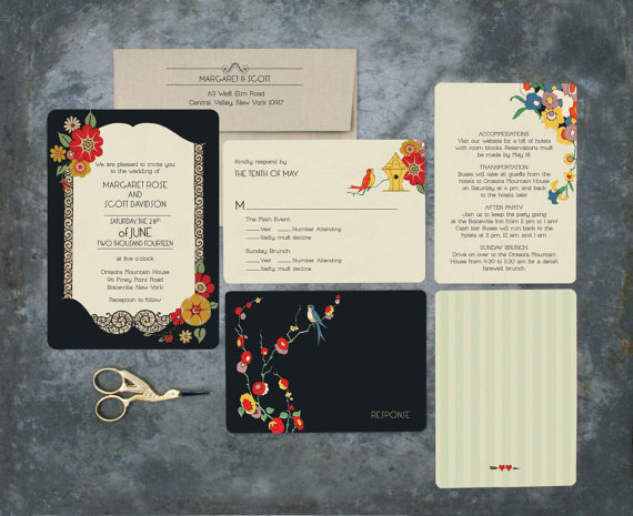 Vintage Style Wedding Invitations Twenties Wedding Art Deco Inspired Black And White Floral