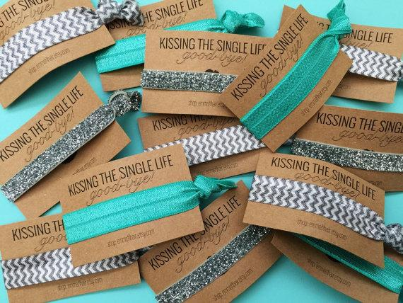 Hochzeit - Single Set 1 card Hair Ties Bachelorette Party Favors Accessories Small Gift  Her Bridesmaids Leopard Print Glitter Hot Pink Black Turquoise