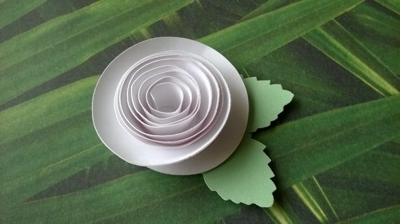 White Rose Boutonniere Groomsman Pin Back Groom Rolled Paper Flower