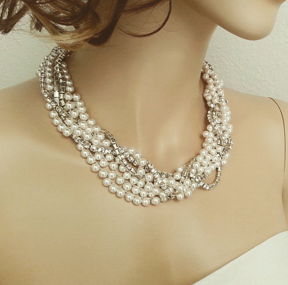 Mariage - Swarovski Pearl Bridal Necklace, Bridal Pearl Rhinestone Necklace, Statement Bridal Necklace Wedding Jewelry, Braided Twisted