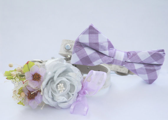 Свадьба - Silver Lilac wedding Collars- 2 Dog Collars - Pet wedding accessory, 2014 wedding idea, Dog lovers