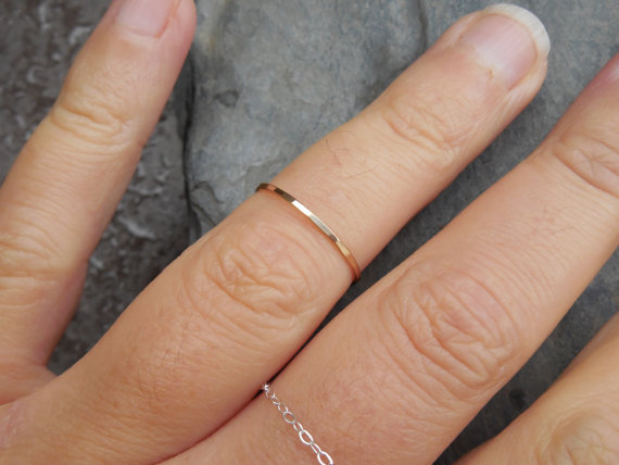 Hochzeit - Skinny ring, hammered 14k yellow gold filled, stacking ring, engagement ring, wedding band, knuckle, midi ring, made to order