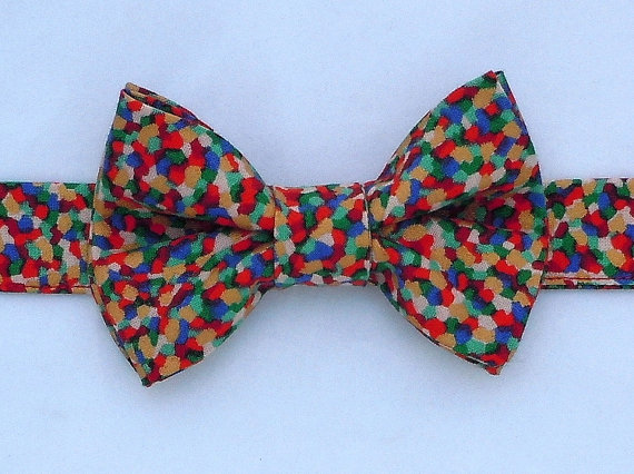 Свадьба - Festive Bow Tie Mosaic Confetti Multi Colors for Dog or Cat - Any Size