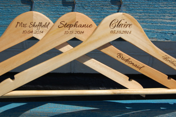 Hochzeit - 1 Personalized Wedding Hanger /  20 colors of ribbon to choose from / bridesmaid gifts /name hanger/brides hanger  wood natural /