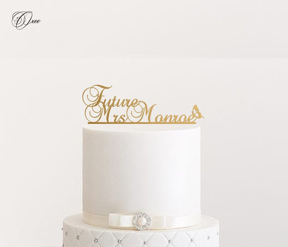 زفاف - Future Mrs wedding cake topper by Oxee, metallic gold and silver personalized cake toppers
