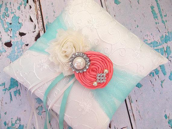 Mariage - Ring Bearer Pillow  / Coral  Ring Bearer Pillow / YOU DESIGN / Coral Aqua blue Ring Bearer Pillow / Coral Aqua Ring bearer Pillow