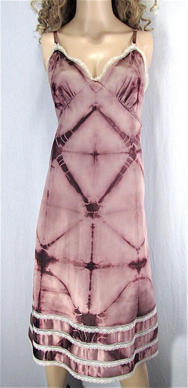 زفاف - Shibori Dyed Slip Dress 38 LARGE Tie Dye Hippie Lingerie Upcycled Clothing Festival Dress Boho Nightgown Bridal Lingerie Mother's Day Gift