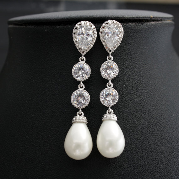 Свадьба - Pearl Bridal Earrings Pearl Wedding Jewelry Cubic Zirconia Posts Bridal Earrings White Shell based Pearl Teardrops Pearl Earrings
