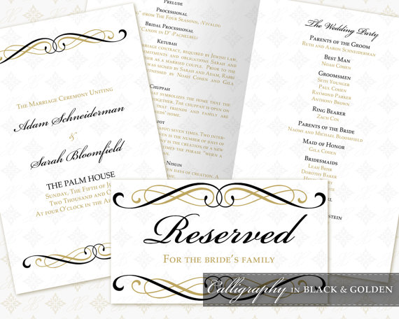 Mariage - DIY Printable Wedding Ceremony Template Set