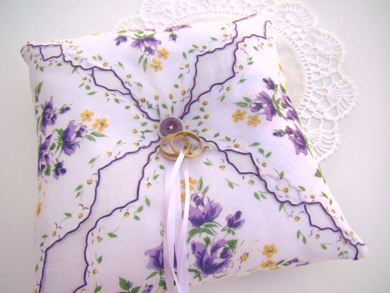 Mariage - Wedding Ring Bearer Pillow, Lavender and White Vintage Styled, Floral Vintage Handkerchief, Garden Themed