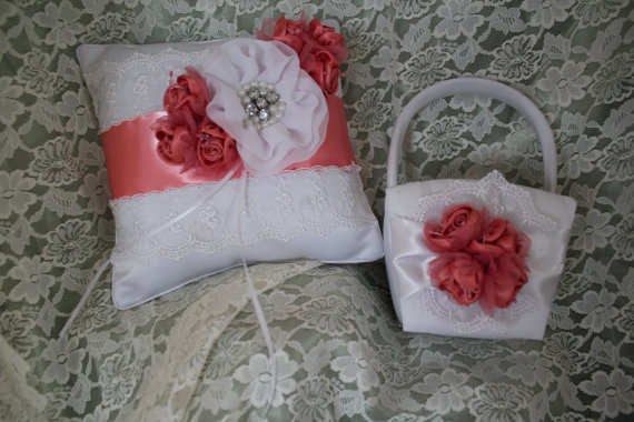Hochzeit - SALE- White and Coral  and Lace-Flower Girl Basket with Matching Ring Bearer Pillow-Elegant-Last One