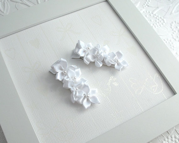 Hochzeit - White Bridal Hair Clips, Flower Girl Accessories, White Satin Flower Hair Clippies for First Communion, Weddings by Pink Lemonade Duxbury