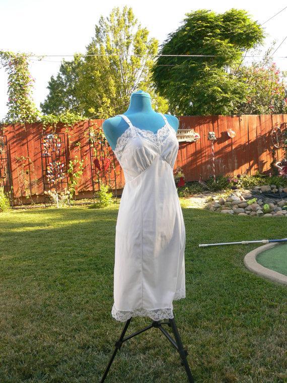 زفاف - white dress slip plus  size 36 bust
