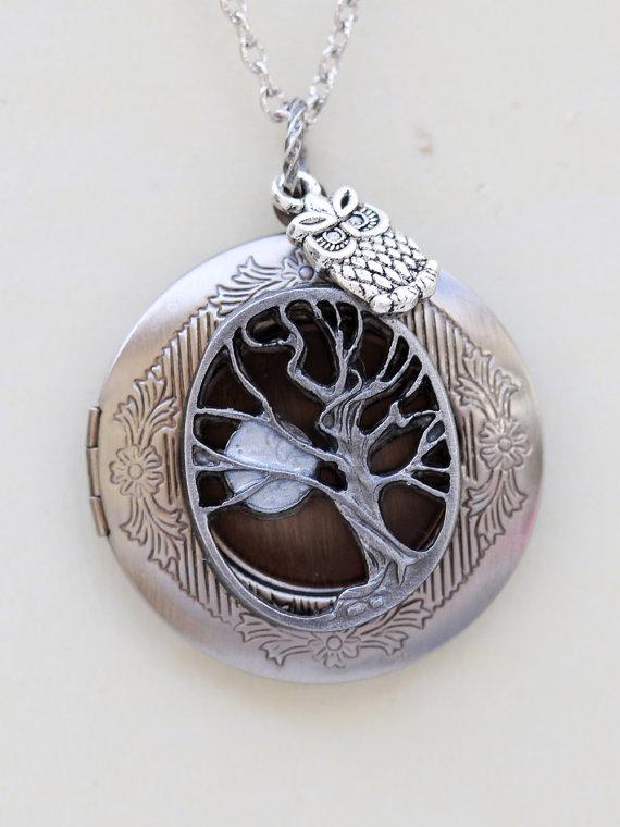 Свадьба - Locket,Tree of life locket,Owl,Moon,Jewelry,Pendant Necklace,Silver Locket,Leaf,Antique Style,Jewelry Gift,Wedding Necklace