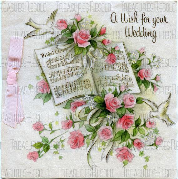 Mariage - Rose Bouquet Dove Wedding Music Card #244 Digital Download
