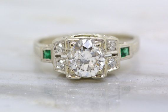 Hochzeit - Antique Art Deco 1.10ctw Old European Cut Diamond Engagement Ring In 18k White Gold With Emerald Accents; Milgrain; Engraving; Filigree R144