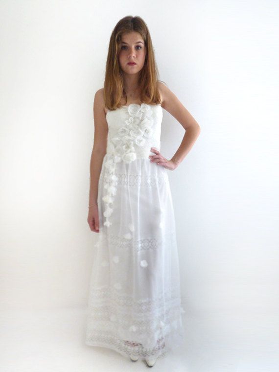Mariage - Boho Wedding Dress, Alternative Wedding Dress, Lace wedding dress, Fairy wedding dress, strapless wedding dress Bridal Gown:WERONI Dress