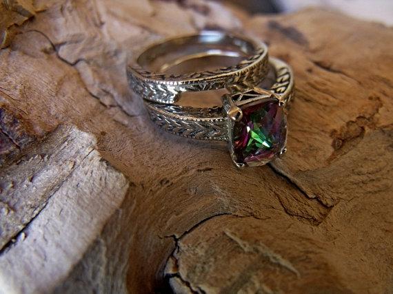 زفاف - RF013 14k White Gold with Mystic Topaz Wedding/Engagement set Ring