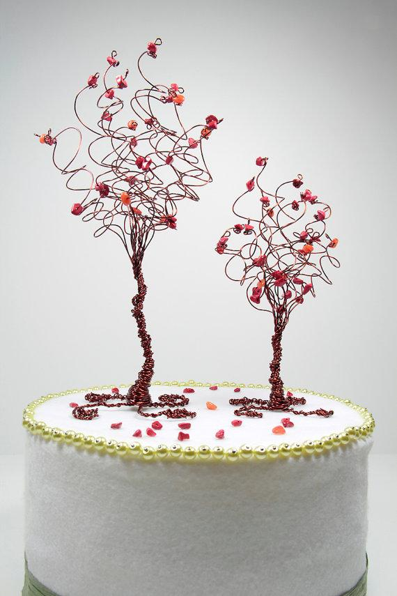 Свадьба - Pair of Trees Wedding Cake Topper Custom in Any Colors