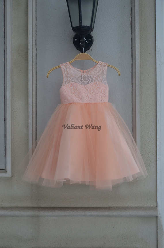 581c5e6cef092 Lovely Peach/Orange Lace Flower Girl Dress Wedding Baby Girls Dress ...