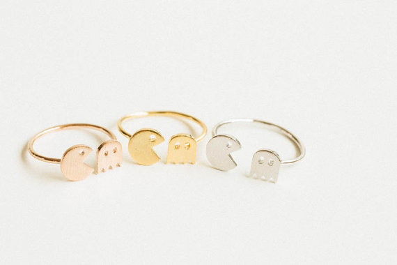 Hochzeit - Pacman adjustable ring,animal ring,adjustable rings,cute rings,cool rings,couple rings,mens rings,unique ring,bridesmaid gift,fun,USADR69