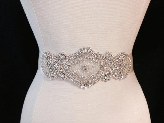 Свадьба - Bridal Sash - Wedding Dress Sash Belt - Rhinestone Ivory Wedding Sash - Ivory Rhinestone Bridal Sash