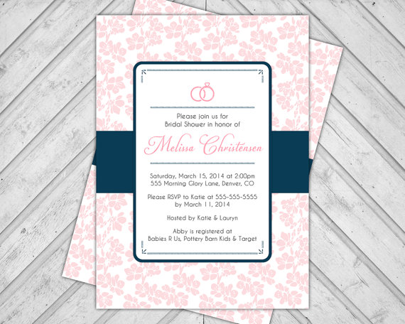 Pink And Navy Blue Wedding Invitations: Navy And Pink Bridal Shower Invitations
