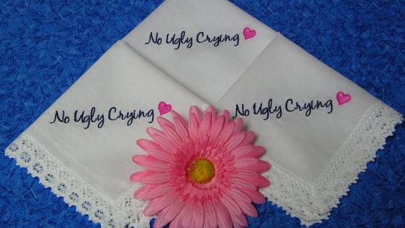 Hochzeit - Single NO UGLY CRYING Lace Handkerchiefs for your Bridal Party, Maid of Honor, Bridesmaid, Mom, Hankie Hanky