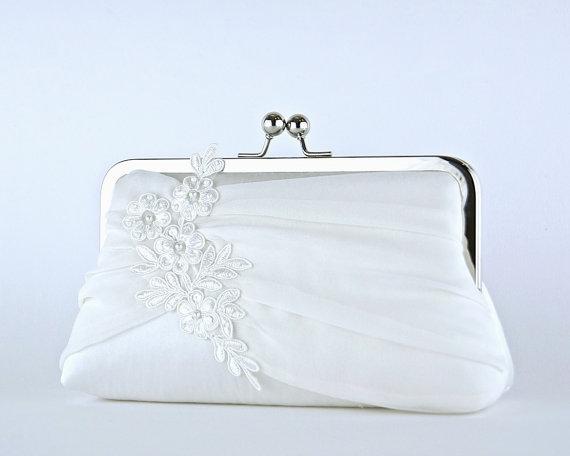 Mariage - Bridal clutch, Lace Applique Chiffon Silk Clutch, wedding clutch, wedding bag, Purse for wedding