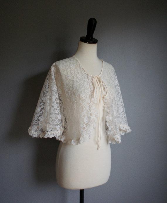 زفاف - Vintage 60s Off White LACE RUFFLE Capelet (s-m)