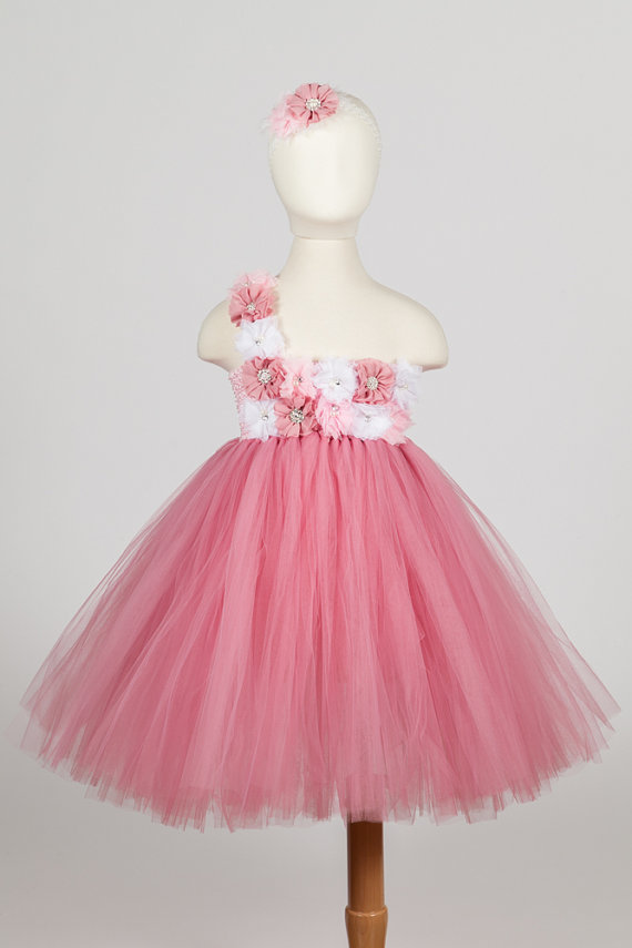 f223691d1eb Dusty Rose Dress- Pink and White- Flower Girl Dress- Dusty RoseTutu Dress-  Birthday Tutu Dress- Pink Tutu Dress