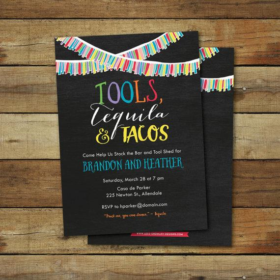 Düğün - Tools, Tequila and tacos wedding shower invitation, co-ed wedding shower invite, tool shower, stock the bar shower, printable invitation