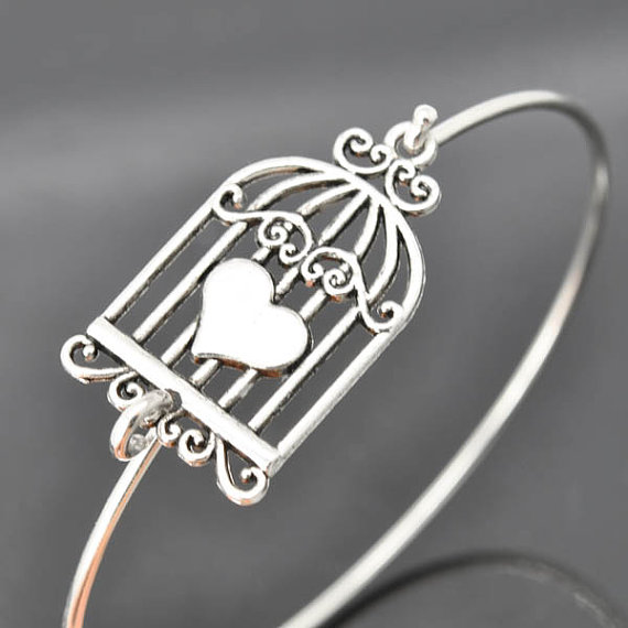 Свадьба - Birdcage Bangle, Sterling Silver Bangle, Birdcage Bracelet, Stackable Bangle, Charm, Bridesmaid Bangle, Bridesmaid jewelry, Bridal Bracelet