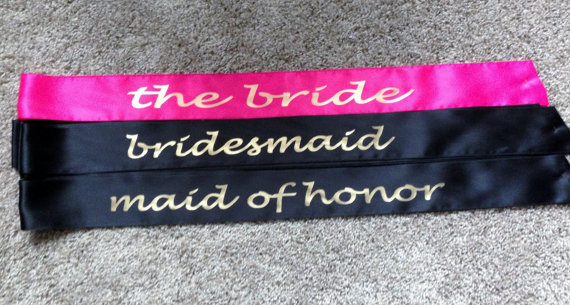 Mariage - 3 Custom sashes, Sexy Little Bride, Bride To Be Sash, Wedding Sash, Personalized Sash, You choose the Colors and Wording , Bridal Party Sash