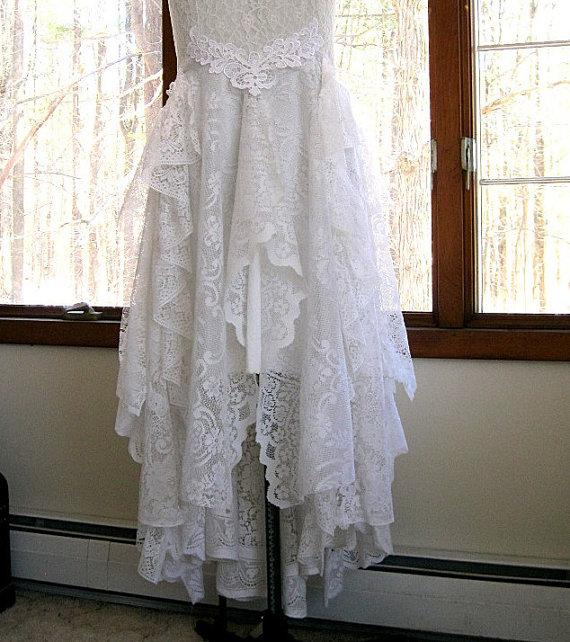 Hochzeit - Off White / Bridal white tattered boho gypsy hippie alternative bride wedding dress, recycled / vintage laces, US size 12, 38 inch bust