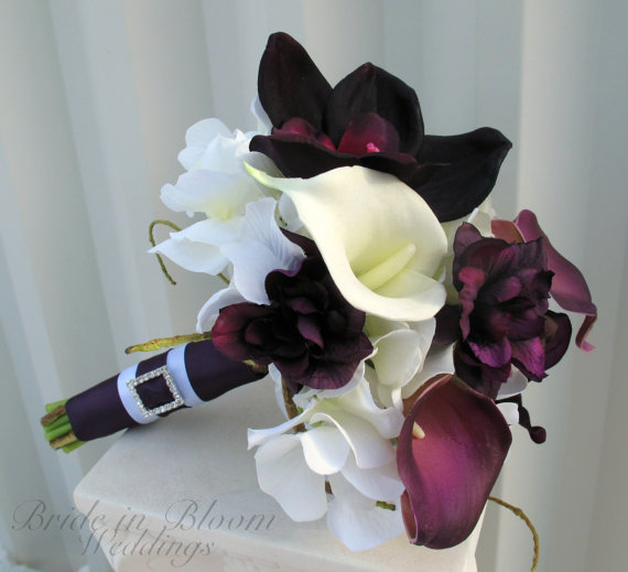 Свадьба - Plum Wedding bouquet real touch calla lily orchid bridesmaid bouquet