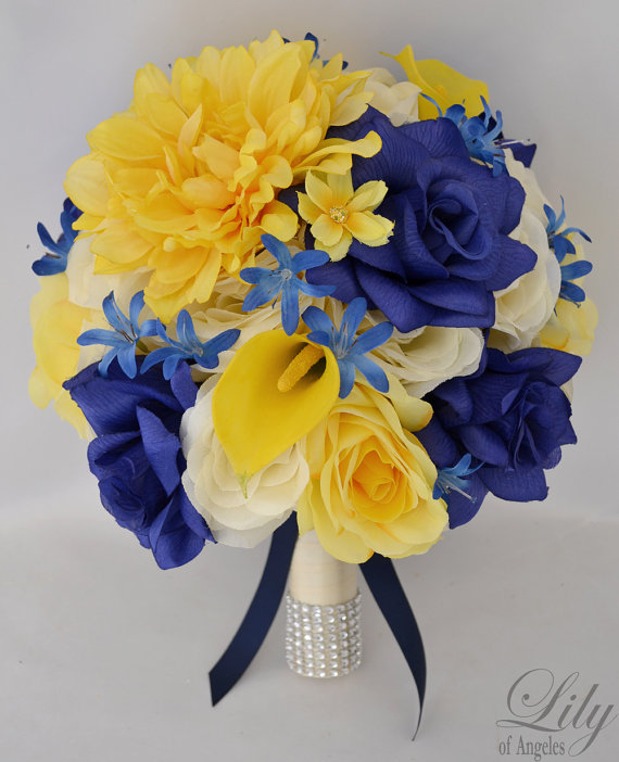 """Mariage - 17 Piece Package Wedding Bridal Bride Maid Of Honor Bridesmaid Bouquet Boutonniere Corsage Silk Flower YELLOW NAVY """"Lily Of Angeles"""" YEBL01"""