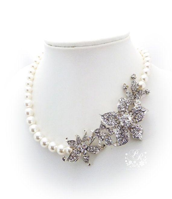 Hochzeit - Wedding Necklace Swarovski Pearl Rhinestone Flower Necklace Bridal Necklace Wedding Jewelry Bridal Jewelry Wedding Accessories Lily