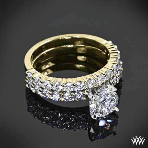 "زفاف - 18k Yelow Gold With Platinum Head ""Diamonds For An Eternity"" 1/2 Diamond Engagement Ring & Wedding Ring"