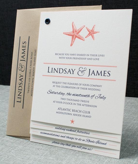 Lindsay Coral Starfish Booklet Wedding Invitation Sample 2262268