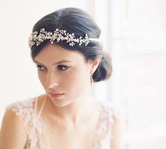 Mariage - Wedding Hair Accessory, Halo, Enamel Wedding Halo Headpiece - Tiny Dancer No. 2017
