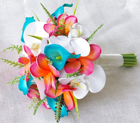 Wedding Coral Orange And Turquoise Teal Natural Touch Orchids Callas And Plumerias Silk Flower