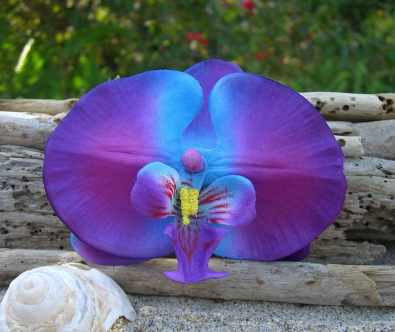 زفاف - Orchid Flower Hair Clip-ELECTRIC BLUE-Weddings, Beach Destination Weddings, Vacations, Tropical Flowers, Blue, Paradise, Floral Hair Clips